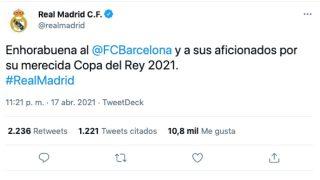 El Real Madrid felicitó al Barcelona por el título de Copa.