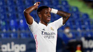 Vinicius Junior se lamenta en el partido entre el Getafe y el Real Madrid. (Getty)