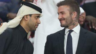 David Beckham, junto a Nasser Al-Khelaïfi. (AFP)