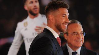 Florentino Pérez y Sergio Ramos. (Getty)