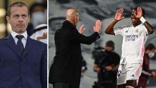 A la izquierda, Aleksander Ceferin; a la derecha, Vinicius y Zidane celebran un tanto del brasileño ante el Liverpool en Champions League (AFP)