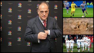La Liga invisible de Javier Tebas. (Getty y EFE)