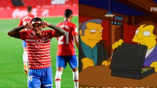Kenedy celebra su gol frente al Granada y una imagen de un capítulo de Los Simpsons.