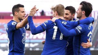 Los jugadores del Chelsea celebran un gol de Werner al West Ham. (Getty)