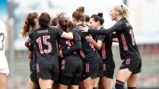 Las jugadoras del Real Madrid Femenino celebran uno de los tantos. (@realmadridfem)
