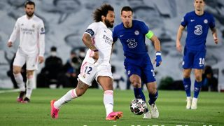 Marcelo, en el partido ante el Chelsea. (AFP)