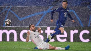Carvajal, durante el duelo contra el Chelsea. (AFP)