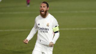 Sergio Ramos, celebra un gol con el Real Madrid ante el Atalanta (Getty).