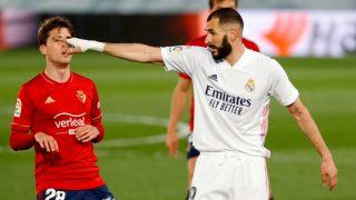 Benzema, en el partido ante Osasuna. (EFE)