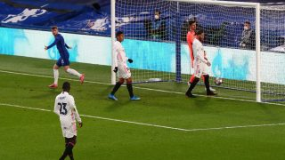 Sergio Ramos en el gol del Chelsea. (Getty)