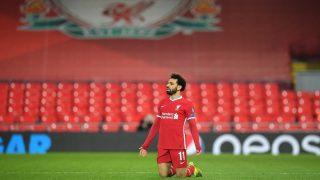 Salah celebra un gol con el Liverpool. (AFP)