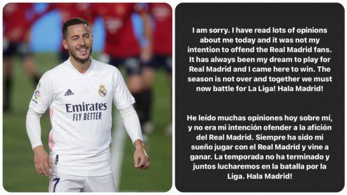 Eden Hazard se disculpó con el madridismo.