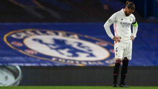 Ramos, durante el Chelsea – Real Madrid. (AFP)
