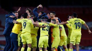 Los jugadores del Villarreal, celebran su pase a la final de la Europa League (AFP).