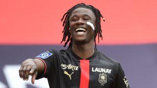 Camavinga celebra un gol con el Rennes (AFP).