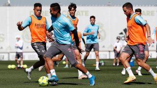 Casemiro y Hazard, en un entrenamiento con el Real Madrid.