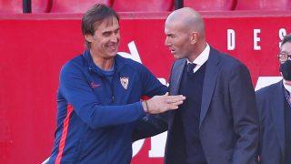 Lopetegui saluda a Zidane en el último enfrentamiento entre Sevilla y Real Madrid (Getty)