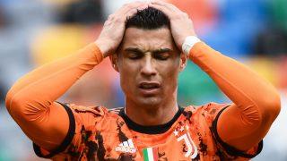 Cristiano Ronaldo se lamenta en un partido con la Juventus. (AFP)