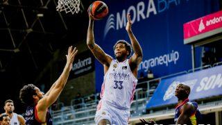 Thompkins, en un partido con el Real Madrid. (ACB Photo)
