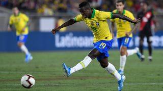 Vinicius Junior, en un encuentro con Brasil. (Getty)