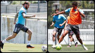 Ramos y Varane durante el entrenamiento de este miércoles. (realmadrid.com)