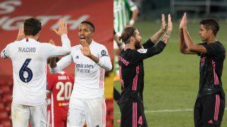 Las parejas de centrales formadas por Nacho y Militao y por Ramos y Varane, durante sendos partidos del Real Madrid (Getty/AFP).