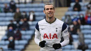 Gareth Bale celebra el doblete ante el Leicester (Getty).
