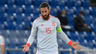 Sergio Ramos, en un partido de la selección española (AFP).