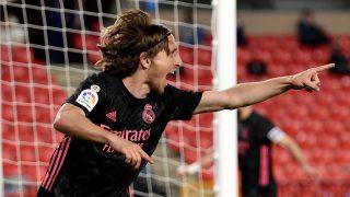 Luka Modric celebra un gol con el Real Madrid (Getty).