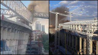 Imágenes del incendio del Bernabéu. (Twitter)