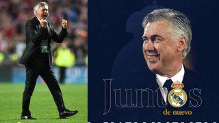 Carlo Ancelotti celebra su contratación por el Real Madrid.