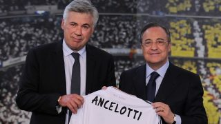 Carlo Ancelotti y Florentino Pérez, el día de su presentación. (Getty)