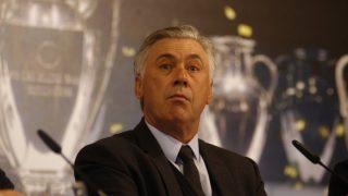Carlo Ancelotti, durante una rueda de prensa con el Real Madrid (Getty).