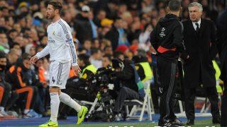 Ancelotti y Sergio Ramos durante un partido. (Getty)