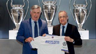 Carlo Ancelotti, junto a Florentino Pérez en su presentación. (RealMadrid)