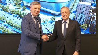Ancelotti y Florentino, en su presentación.
