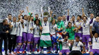 Los jugadores del Real Madrid celebran la Duodécima.