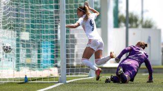 Asllani marca el primer tanto del Real Madrid ante la Real Sociedad. (@realmadridfem)