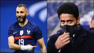 Karim Benzema y Nasser Al-Khelaifi. (AFP)
