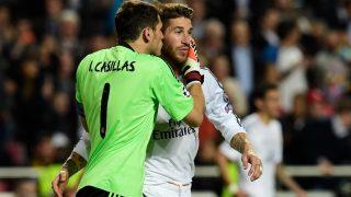 Iker Casillas y Sergio Ramos durante la final de Champions 2014 en Lisboa. (AFP)