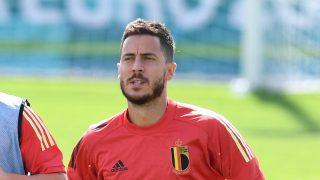 Eden Hazard, durante un entrenamiento con Bélgica (AFP).
