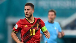 Eden Hazard, durante el Finlandia-Bélgica (AFP).
