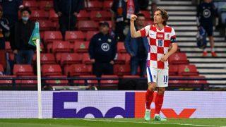 Modric celebra un gol con Croacia. (Getty)