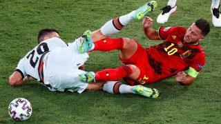 Hazard, durante el partido Bélgica-Portugal de octavos de la Eurocopa. (EFE)