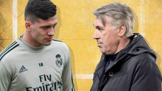 Luka Jovic y Carlo Ancelotti.