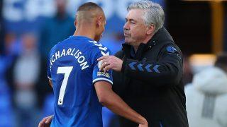 Richarlison, con Ancelotti en su etapa en el Everton (Getty)