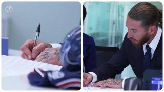Sergio Ramos firma con un bolígrafo BIC.