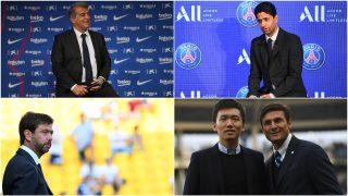 Joan Laporta, Nasser Al-Khelaifi, Andrea Agnelli, Steven Zhang y Javier Zanetti.