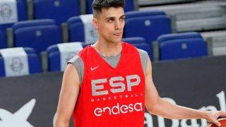 Carlos Alocén, durante un entrenamiento con la selección española. (FEB)