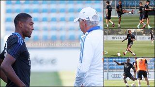 David Alaba, durante su primer entrenamiento con el Real Madrid. (realmadrid.com)